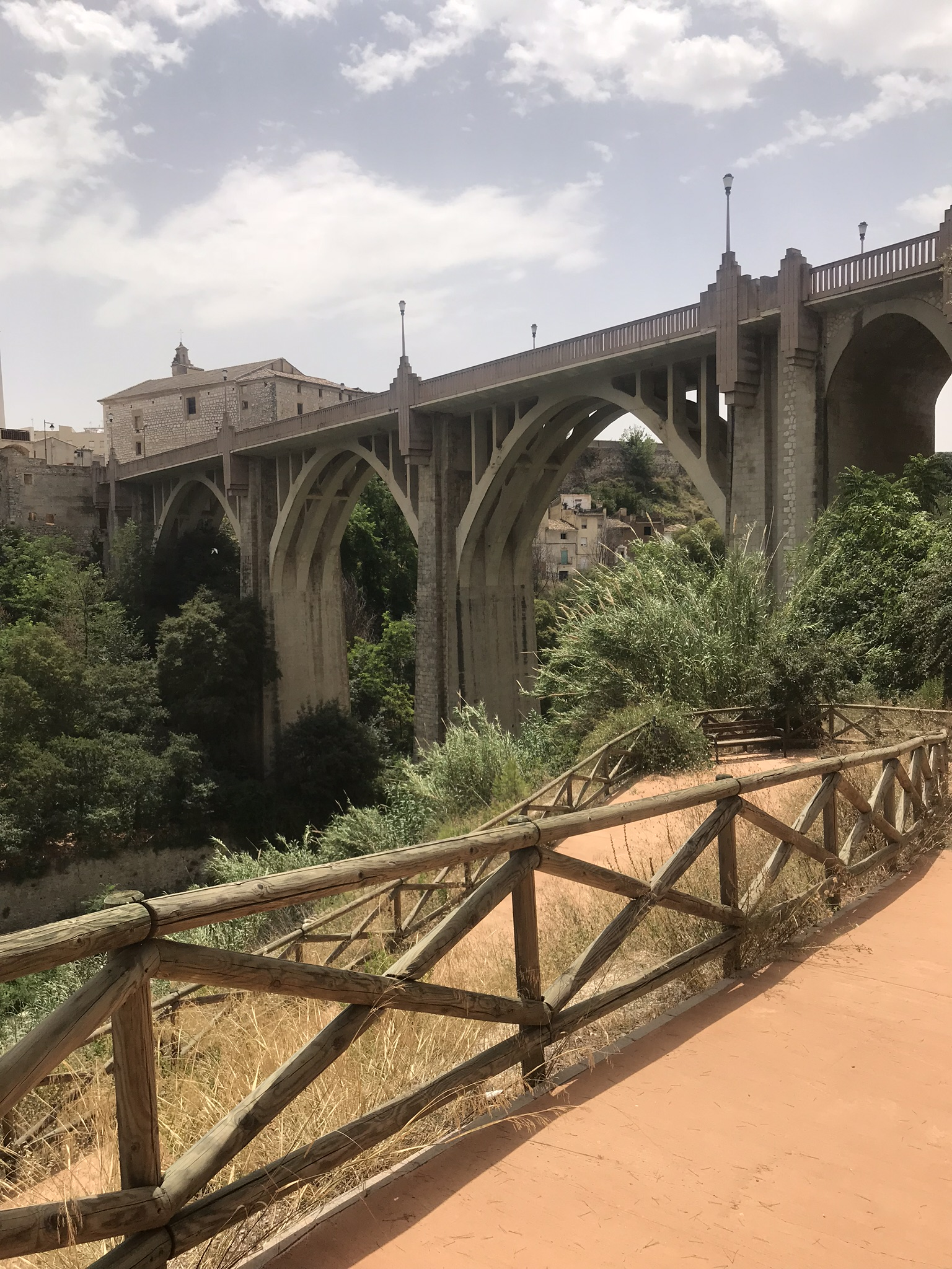 Spain 2018 Day 3 - Looking back at the bridge over the river