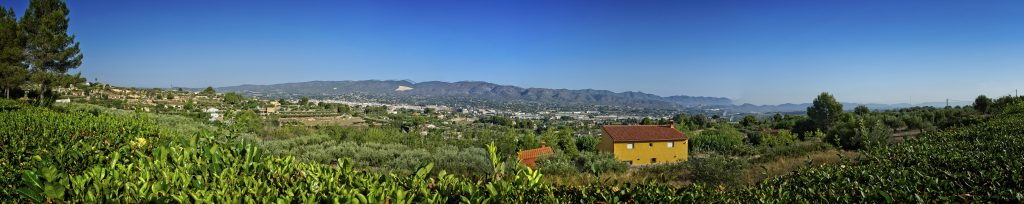 Panorama of Ontinyent from the pool area of J&W's house.